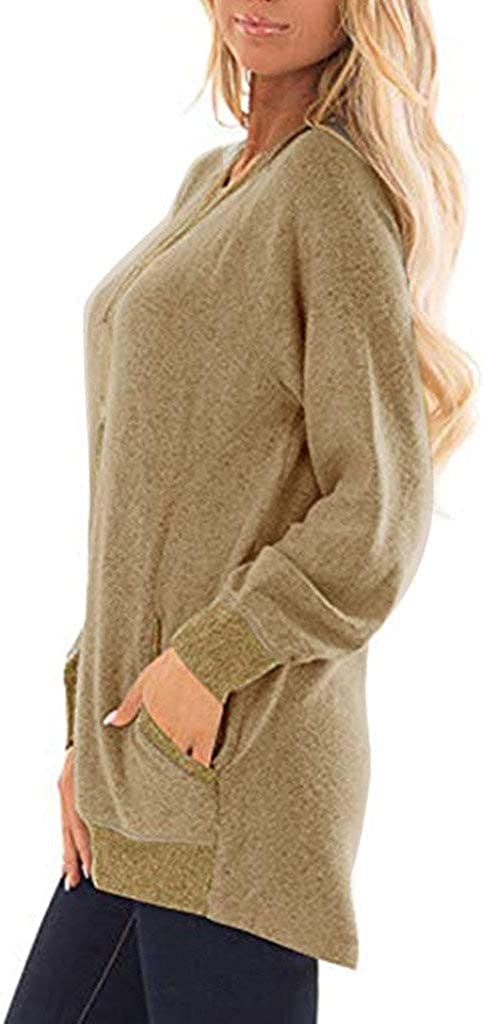 Lloopyting Womens Casual Solid Color Long Sleeve T-Shirt Sweatshirts with Pocket Loose Comfort Crewneck Blouse Tops