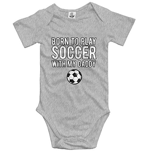 Boys Girls Baby Cotton Baby Onesies to Play Soccer with My Daddy Infant Bodysuits Ash ()