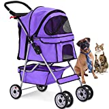 4 Wheels Pet Stroller Cat Dog Cage Stroller Travel Folding Carrier with Cup Holders and Removable Liner for Small-Medium Dog - Cat (Purple)