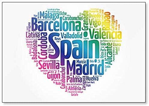 Lista de ciudades y pueblos en España, Word Cloud Collage, Illustration – Imán clásico para nevera: Amazon.es: Hogar