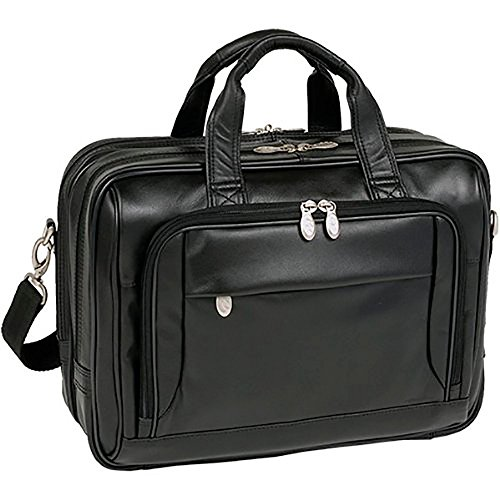 Mcklein USA West Loop [Personalized Initials Embossing] 15.6'' Leather Expandable Double Compartment Briefcase in Black by McKleinUSA