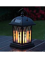 Festive Lights Garden Candle Lantern - Solar Powered - Flickering Effect - Amber LED - 27cm