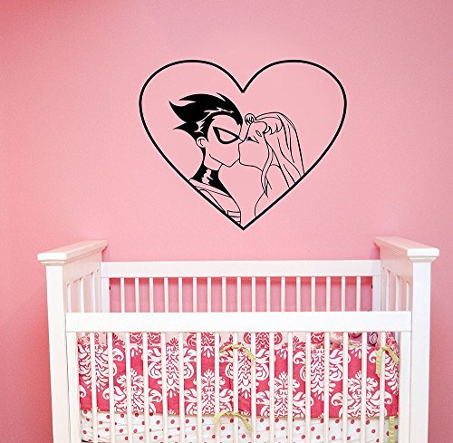 Teen Titans Wall Decal Love Heart Robin and Starfire Kiss Vinyl Sticker DC Comics Cartoon Superhero Art Romantic Decorations for Home Kids Girl Room Decor tt1 - Tt1 Series