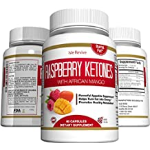 Raspberry Ketones Weight Loss Supplement - Plus African Mango and Green Tea Extract - Natural Thermogenic Fat Burner Promotes Appetite Control, Boosts Energy and Metabolism, 60 Veggie Capsules