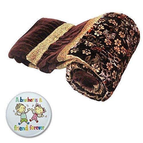 Floral Velvet Quilt (Mahadev Handicrafts Rajasthani Floral Design Velvet Cotton Double Bed Quilt - Brown)