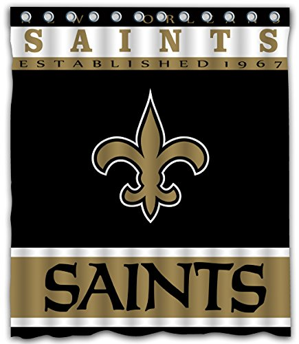Sonaby Custom New Orleans Saints Waterproof Fabric shower curtain For Bathroom Decoration (60x72 Inches) ()