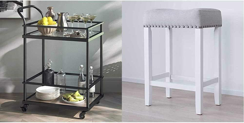 Nathan James Carter Rolling Bar and Serving Cart 2-Tiered Glass and Metal, Black/Brown & 21301 Hylie Nailhead Wood Pub-Height Kitchen Counter Bar Stool 24