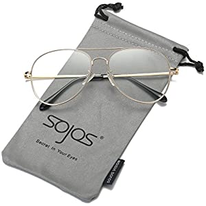 SojoS Classic Aviator Mirrored Flat Lens Sunglasses Metal Frame with Spring Hinges SJ1030 With Gold Frame/Clear Lens