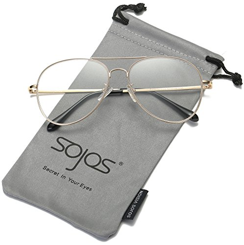 SojoS Classic Aviator Mirrored Flat Lens Sunglasses Metal Frame with Spring Hinges SJ1030 With Gold Frame/Clear - Best Sunglasses For Sun Into Driving