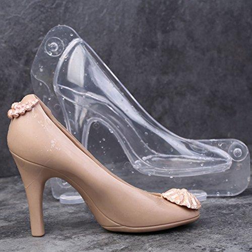 HULISEN 3D High Heel Shoe Chocolate Candy Mould Bundle Molding Fondant Cake Mold Decorating DIY Home Baking, 6.1 inch Long (Big Size High Heel Shoe)