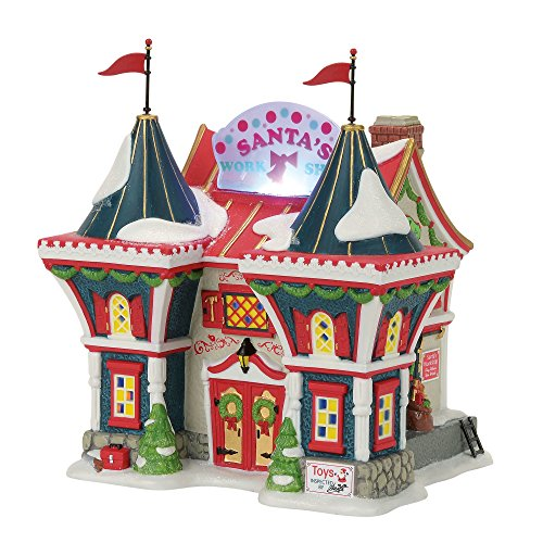 Department 56 North Pole Series Santa's Workshop Lit Building Village, Multicolor (Series 56 North Pole)