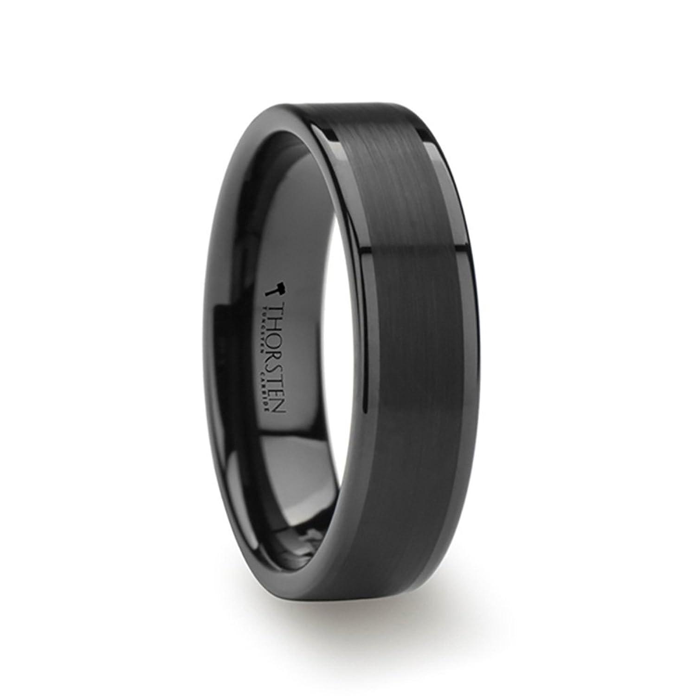 THORSTEN - VULCAN Black Flat Men�s Tungsten Carbide Ring Matte Brushed Finish Polished Edges Comfort Fit Lightweight Durable Wedding Band - 6mm