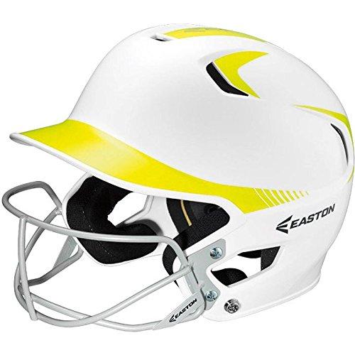 Easton Senior Z5 2Tone Batters Helmet with SB Mask, White/Optic (Batting Softball Approved Helmets)