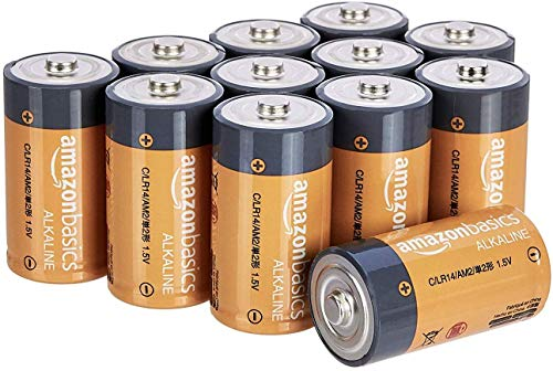AmazonBasics C Cell 1.5 Volt Everyday Alkaline Batteries – Pack of 12