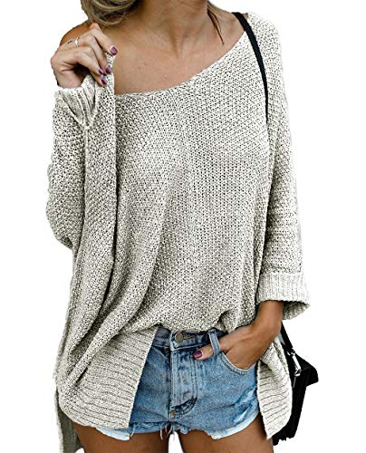 Sleeve Knitted Jumper - HZSONNE Women's Off Shoulder Casual V Neck Batwing Sleeve Sheer Loose Oversized Pullover Sweater High Low Knitted Jumper Tops Beige