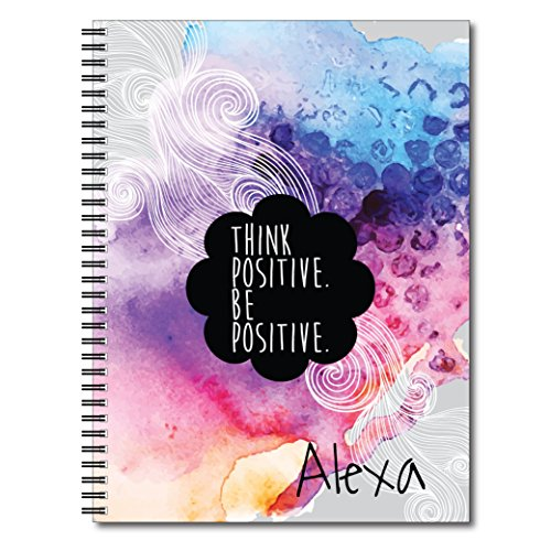 Think Positive Inspirational Personalized Abstract Notebook / Journal, 120 Wide Ruled or Checklist Pages, durable laminated cover, and wire-o spiral. 8.5x11 | 5.5x8.5 | Made in the (Covered Journal)