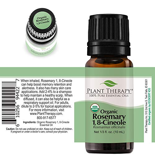 Plant Therapy Rosemary Organic Essential Oil | 100% Pure, USDA Certified Organic, Undiluted, Natural Aromatherapy, Therapeutic Grade | 10 Milliliter (⅓ Ounce)