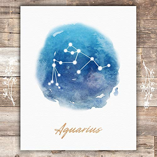 Zodiac alchemy galaxy  star map print Aquarius female one line art constellation print gift watercolor minimalist digital poster print