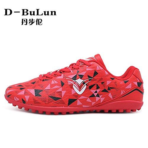 XING Lin Fußball Schuhe Broken Nail Soccer Shoes Herren und Frauen Kinder Kunstrasen atmungsaktives Leder Fuß rot