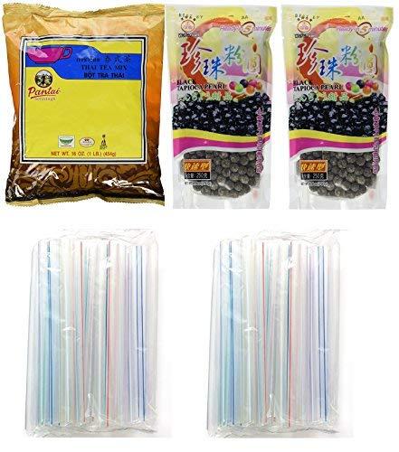 Collection of BOBA Tapioca Pearls for Bubble Tea, Pantai Thai Tea Powder and Boba Jumbo Straws Bubble (Basic pack) (Basic pack)