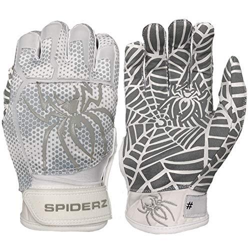 Spiderz Web Adult 2019 Baseball/Softball Batting Gloves (White/Silver, X-Large) ()