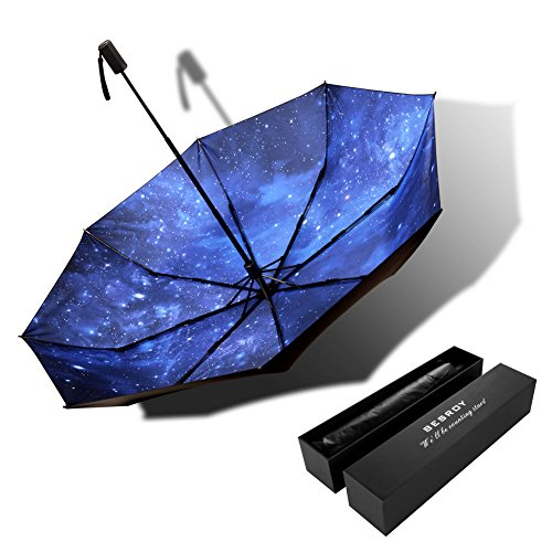 Bes High grade portable sun umbrella, black glue anti UV coating, aluminum alloy umbrella holder, gift boutique, outdoor sunshade, sun block, rain, black umbrella with blue sky bottom.give (Spot Uv Coating)