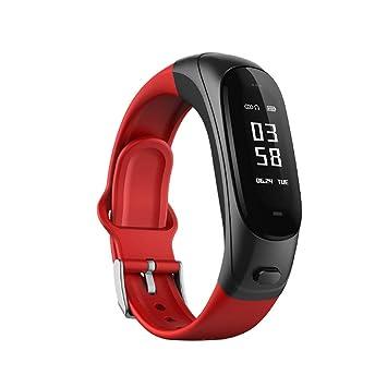 ZEQUAN Descarga eléctrica de Carga Pulsera Inteligente Reloj de medición de la presión Arterial Impermeable Multifuncional Reloj Inteligente (Color : Red): ...