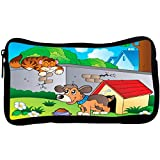 Rikki Knight Cute Dog in Kennel with Cat Illustration Design Neoprene Pencil Case (pc1120)