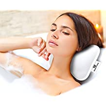 Home Prime Luxury Spa Non-Slip BATH PILLOW by Fits Any Bathtub/Hot Tub/Jacuzzi with 2 Strong Suction Cups - Large & Soft, Shoulder & Neck Support. With a LOOFAH SPONGE.