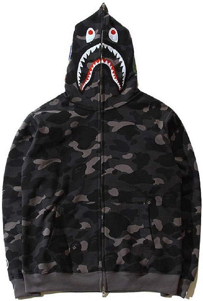 Popular Bathing Ape Bape Shark Jaw Camo Full Zipper Hoodie Men's Sweats Coat Jacket