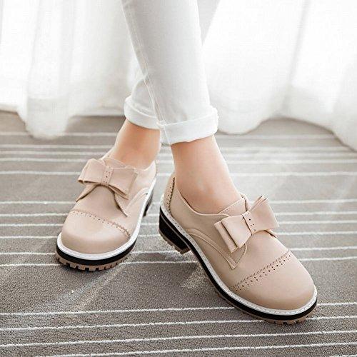 Carolbar Womens Bows Retro Fashion Comfort Lage Hak Casual Schoenen Beige