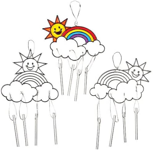 Confezione da 4 Scacciaspiriti Acchiappasole Arcobaleno Effetto Vetro Colorato per Bambini da Dipingere Appendere ed Esporre