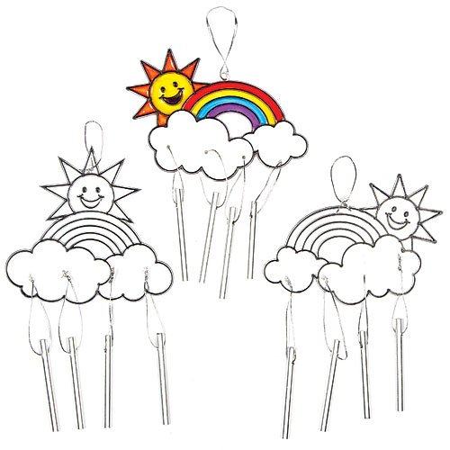 Baker Ross Rainbow Stained Glass Suncatcher Windchimes for Children to Paint Hang and Display (Pack of 4) ()