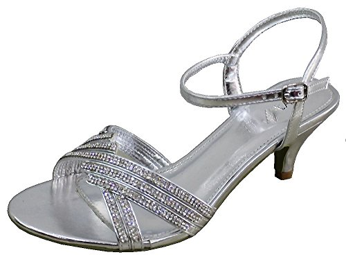 Ubershoes - Sandalias de vestir para mujer Plateado - plata