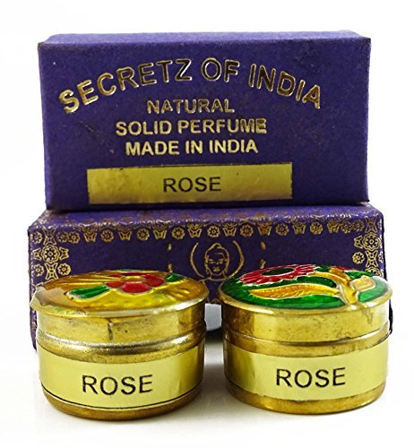 - Natural Rose Fragrance Solid Perfume Body Musk Natural Wax In Mini Brass Jar 4g