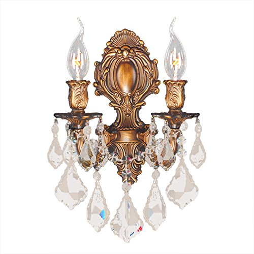 Worldwide Lighting Versailles Collection 2 Light French Gold Finish & Golden Teak Crystal Candle Wall Sconce 12