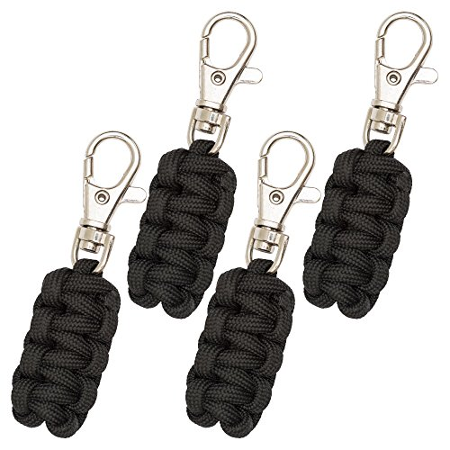 Leather Zipper Pull - Monkey Armor Paracord Zipper Pulls 4 Pack Black | Metal Hook Thin Enough to Attach to Almost Any Zipper