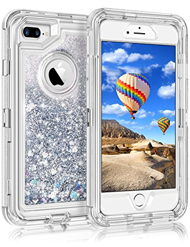 "iPhone 8 Plus Case, Coolden iPhone 7/8 Plus Glitter Case for Girls Women Floating Liquid Sparkle Dual Layer Heavy Duty Cover Anti-Drop PC Frame TPU Back for 5.5"" Apple iPhone 7+/8+ Plus (Silver)"