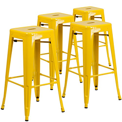 Flash Furniture 4 Pk. 30'' High Backless Yellow Metal Indoor-Outdoor Barstool with Square Seat