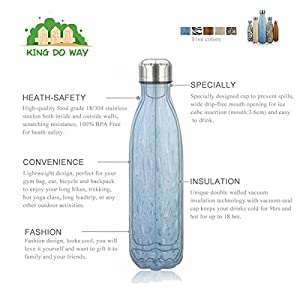 King Do Way Double Wall Vacuum Insulated Stainless Steel Sports Water Bottle, Blue, 17 Ounce