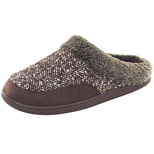 HomeIdeas Men's Woolen Fabric Imitation Fur Spliced House Slippers, Autumn Winter Indoor / Outdoor Shoes
