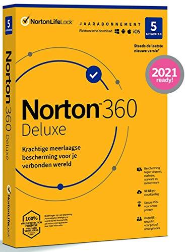 Norton 360 Deluxe 2021, antivirussoftware, internetbeveiliging, 5 Apparaten, 1 Jaar, Secure VPN en Password Manager, PCs…