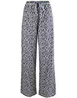 Leisureland Women's 100% Cotton Poplin Pajama Sleepwear Lounge Pants Leopard White