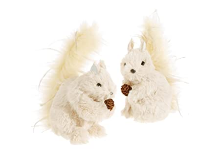 Set of 2 Assorted RAZ Imports 7 Furry Whimsical Squirrel Figurines