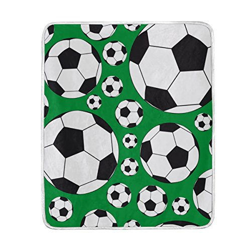 ALIREA Soccer Balls Super Soft Warm Blanket Lightweight Throw Blankets for Bed Couch Sofa Travelling Camping 60 x 50 Inch for Kids Boys Girls by ALIREA
