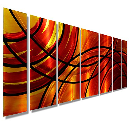 Red, Orange, Gold & Black Abstract Metal Wall Art Painting -