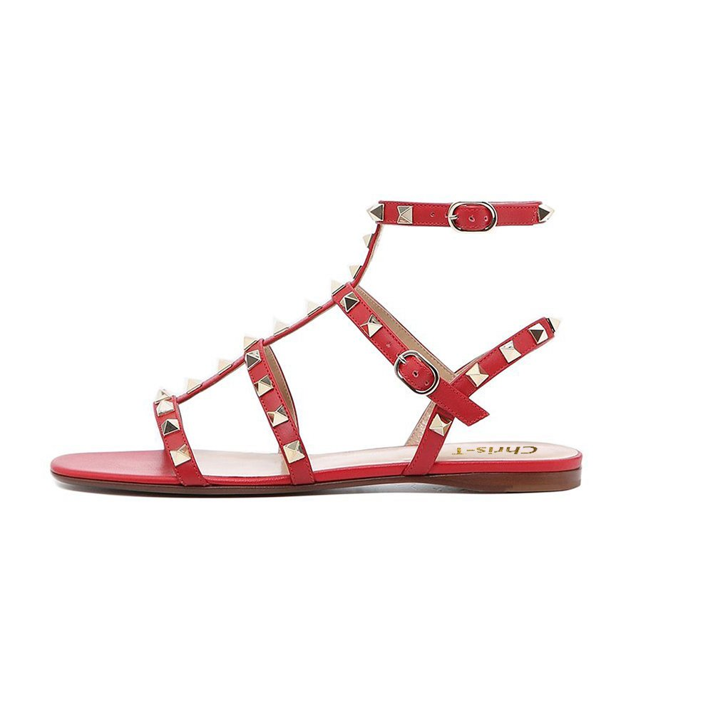 Chris-T Womens Mules Flats Rivets Slides Rockstud Strappy Studded Gladiator Sandals Backless Dress Slippers 5-14 US B07DH3RHQ9 7.5 M US|Red/Leather/Gold Studs