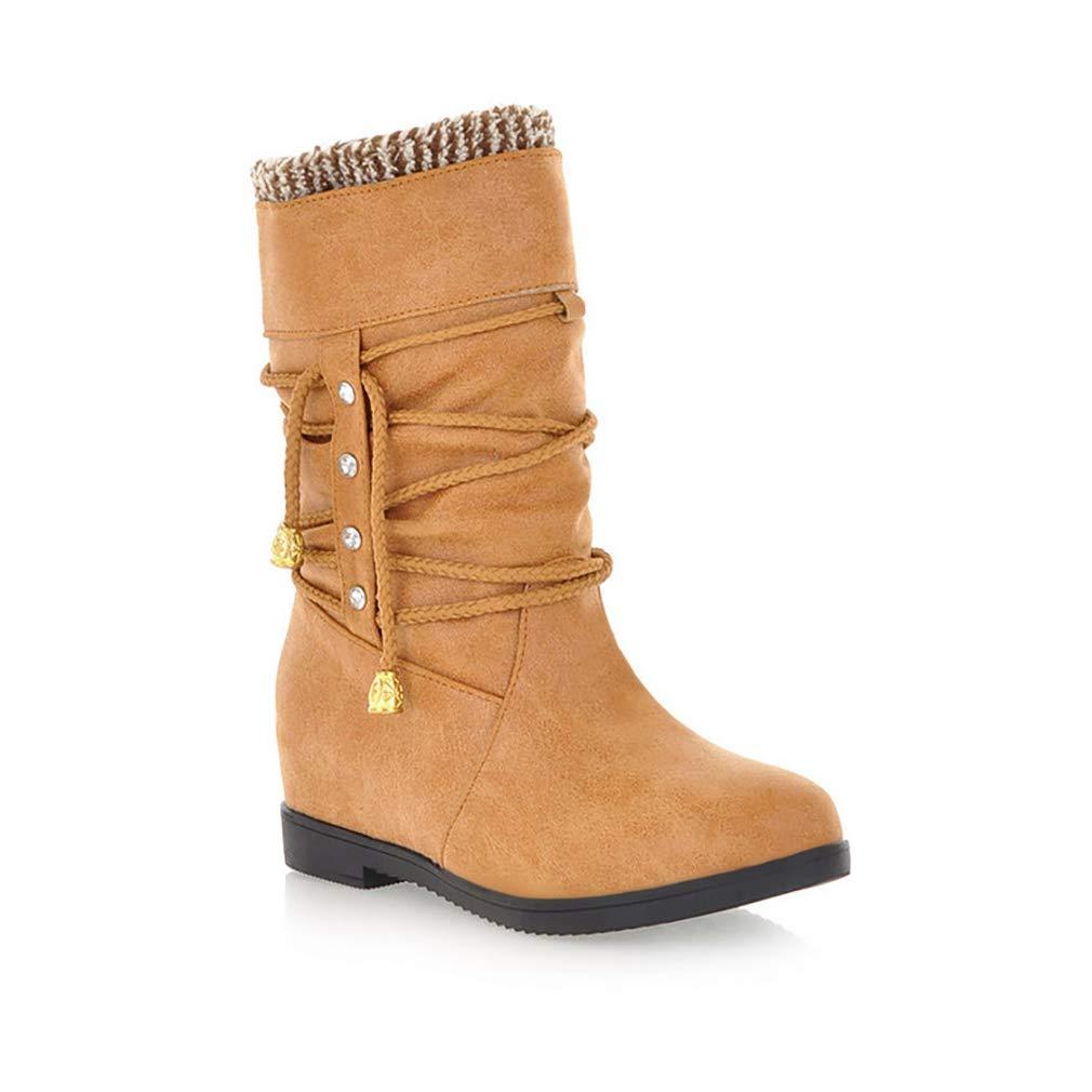 Hy 2018 Frauen Stiefel Pu Herbst/Winter große Größe Reitstiefel/Damen Flache beiläufige Stiefelies/Mode innen erhöhen Stiefeletten Party & Abend (Farbe : EIN, Größe : 40)