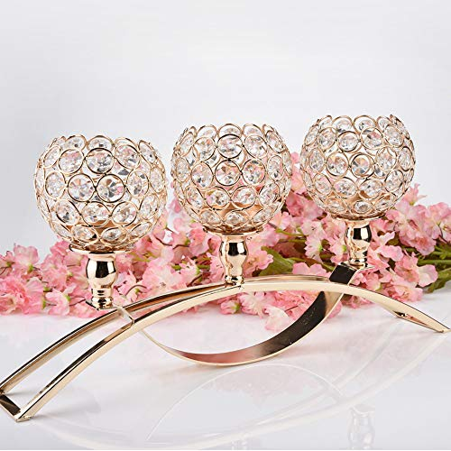 US Fast Shipment Clearance 17 Inch Three Crystal Valentines Day Crystal Tea Light Candle Holders,for Candle Shade for Wedding Home Decoration, Holiday Gifts, Photo Props(2 Colors) (Gold)