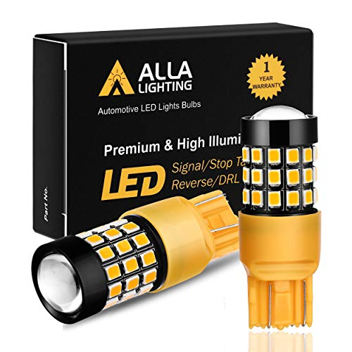 Alla Lighting Super Bright T20 7440 7443 LED Turn Signal Light Bulbs WY21W 7440NA 7444NA 7440 7443 LED Bulbs High Power 2835 Chipsets 7440 7443 Amber Yellow Cars Trucks Blinker - Replacement Red Led Bulb Bright